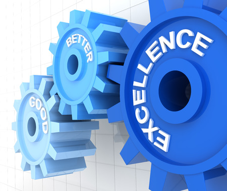 excellence: Gears with the words good, better and excellence, 3d render Stock Photo