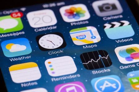 IPhone の iOS のインターフェイスのアデレード、オーストラリア - 2013 年 9 月 20 日: クローズ アップ ビュー。iOS は、iPhone、iPad、および iPod の接触の