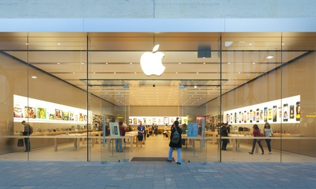 apple computers: Adelaide, Australia - September 23, 2013: Apple Store in Adelaide, Australia, with pedestrians passing by outside the store. It is the first Apple Store in South Australia. It is located at Rundle Mall, Adelaide.