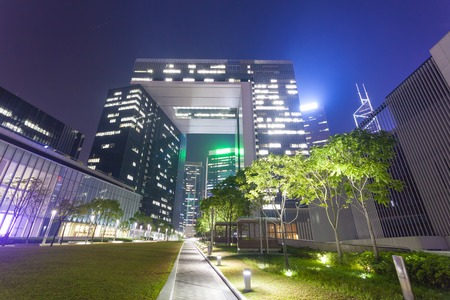 central government: Central Government Complex in Hong Kong at night Editorial