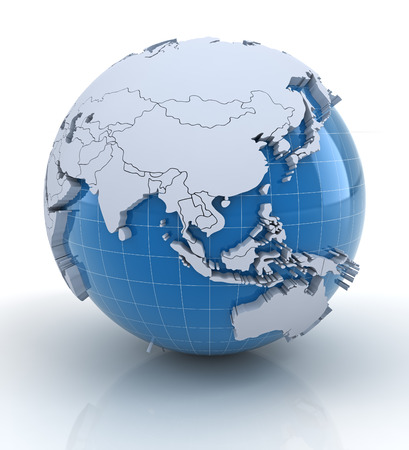 world map blue: Globe with extruded continents and national borders, Asia and Australia region Stock Photo