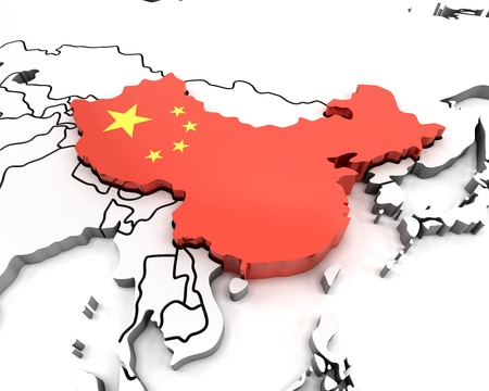 prc: China map with national flag, 3d render
