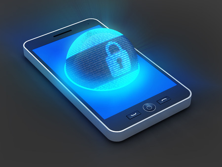 smartphone: Smartphone with lock symbol on globe formed by binary code, 3d render Stock Photo