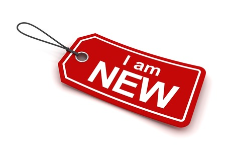 new arrivals: I am new tag, 3d render, white background
