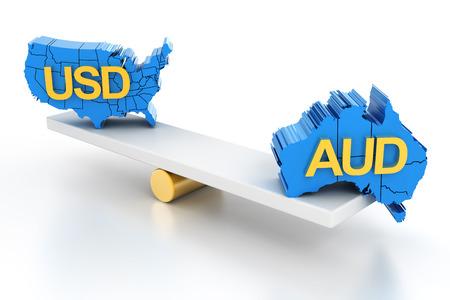 Australian and US dollars balance, 3d render, white background Stock Photo
