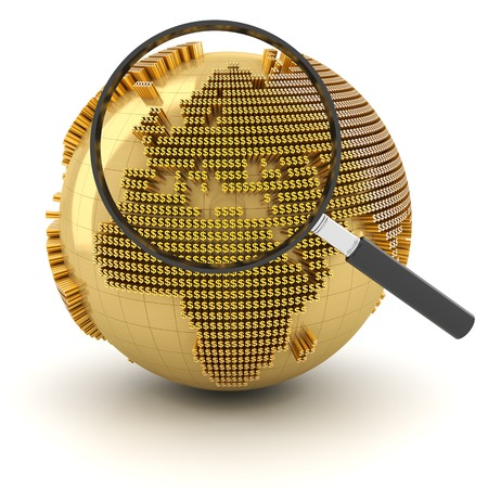 outlook: Globe with magnifying glass, economy outlook concept, 3d render