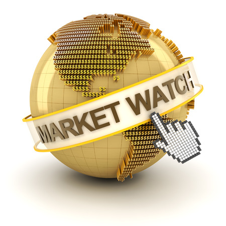 Market watch symbol with golden globe and hand cursor, 3d render, white background