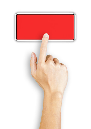 Hand clicking a 3d rendered red button, top view