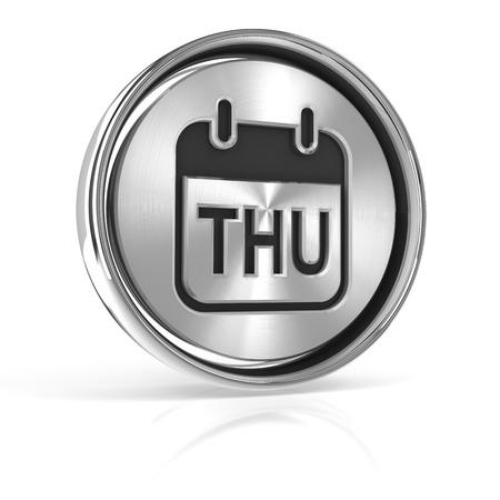 thursday: Thursday metallic icon, 3d render, white background