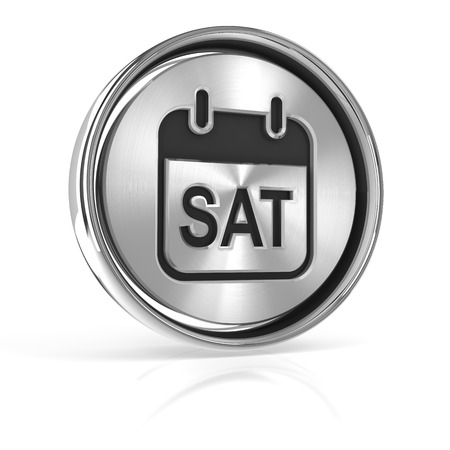 saturday: Saturday metallic icon, 3d render, white background Stock Photo