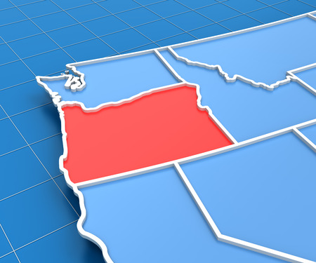 state of oregon: 3d render of USA map with Oregon state highlighted in red