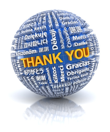 Thank you text in 22 different languages, 3d render, white background
