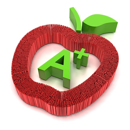 Word related to education forming apple shape, 3d render, white background photo