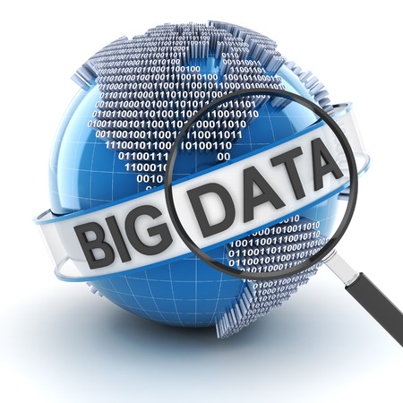 Big data with digital globe and magnifying glass, 3d render, white background Stock Photo