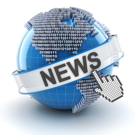 Technology news symbol with digital globe, 3d render, white background photo
