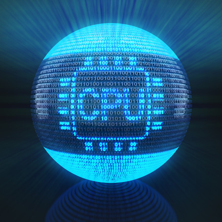 semiconductors: CPU symbol on globe formed by binary code, 3d render