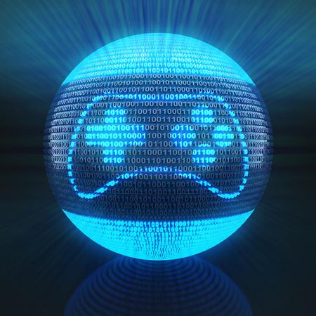 バイナリ コード、3 d のレンダリングによって形成された世界にゲーム アイコン