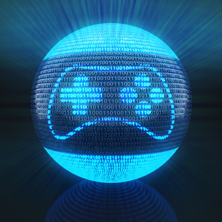 Gaming icon on globe formed by binary code, 3d render