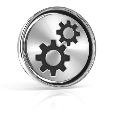 hardware configuration: Metal gear icon, 3d render, white background Stock Photo