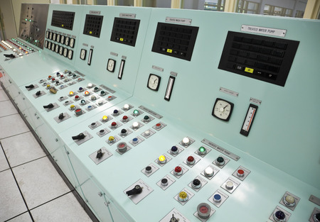 treatment plant: Control panels in the control room of a water treatment plant