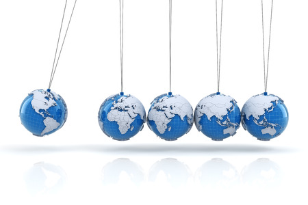 global crisis: Newtons cradle with globes, 3d render, white background