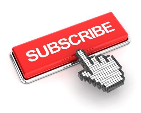 subscribe: Hand cursor clicking a subscribe button, 3d render