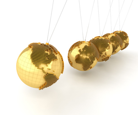 impact: Newtons cradle with golden globes formed by dollar signs, 3d render