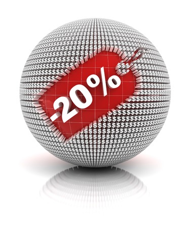 20 percent off sale tag on a sphere, 3d render. white background photo