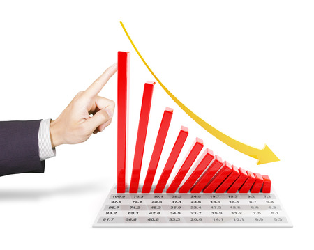 and decline: Hand of businessman pushing a 3d rendered falling chart Stock Photo