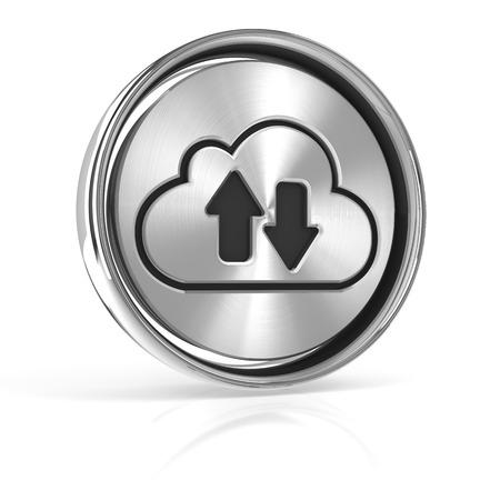 data synchronization: Metal cloud technology icon, 3d render, white background Stock Photo