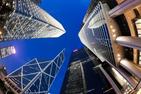 angle views: Fisheye view of skyscrapers in Hong Kong at night Editorial
