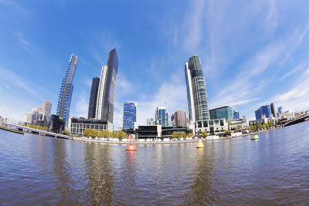 southbank: Fisheye view of Southbank area in Melbourne in the daytime