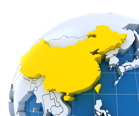 Globe with extruded continents, close-up on China, 3d render