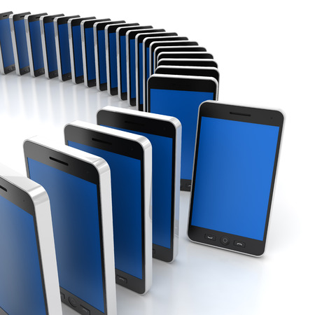 standing out: Group of generic smartphones with one standing out, 3d render, white background