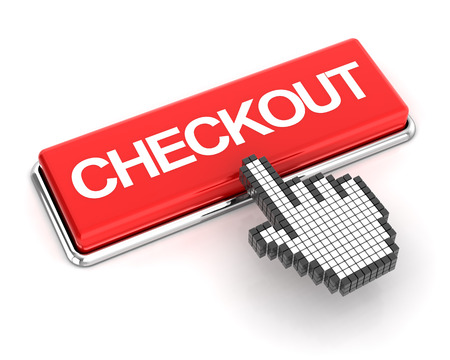 checkout button: Hand cursor clicking a checkout button, 3d render