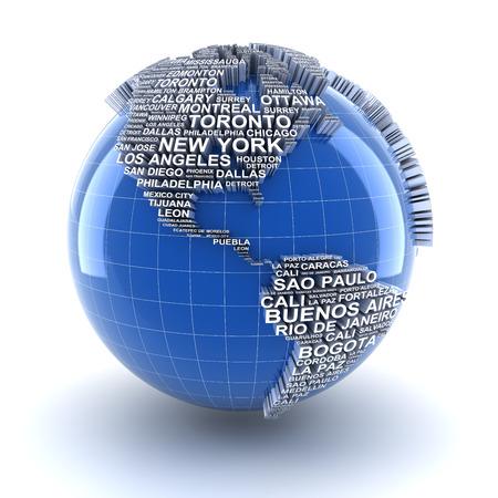 naciones unidas: Tierra con los nombres de las principales ciudades del mundo, 3d