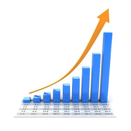 Groei grafiek met gegevens, 3d render, witte achtergrond