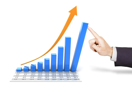 Composite image of a rising chart with hand pushing the tallest bar photo
