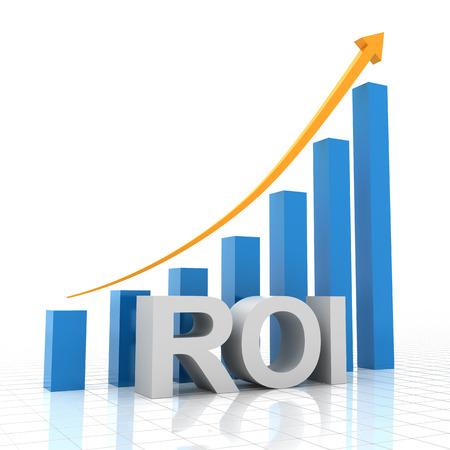 rendement: Return on investment grafiek, 3D render, witte achtergrond