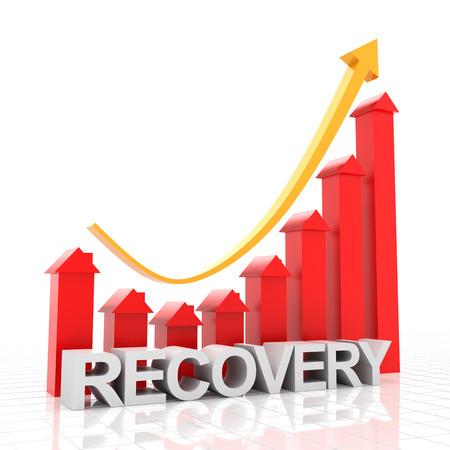 Gráfico de recuperación de bienes raíces, render 3d, fondo blanco. Foto de archivo