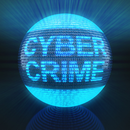 internet crime: Cyber crime word on globe formed by binary code, 3d render