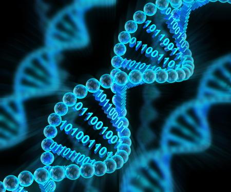 Moléculas de ADN con código binario, 3d, fondo oscuro Foto de archivo