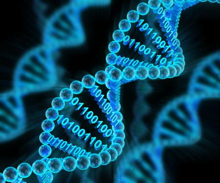 genetica: Molecole di DNA con il codice binario, rendering 3d, sfondo scuro