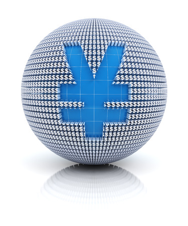 rmb: Yen or RMB icon on globe formed by dollar sign, 3d render, white background Stock Photo