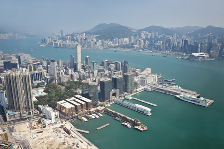 finanical: Aerial view of Hong Kong with Kowloon Peninsula in the foreground Stock Photo
