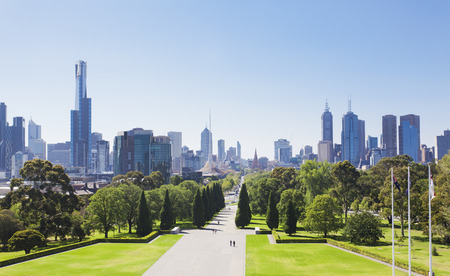 View of the skyline in Melbourne, Australia Stock Photo