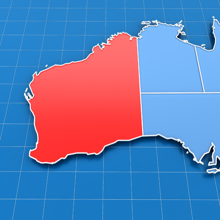 3d Render Of Australia Map With Victoria State Highlighted Stock