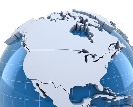 north: Globe, close-up on USA and Canada, 3d render