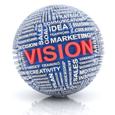extruded: Sfera con le parole estrusi, concetto di visione di business, rendering 3d, sfondo bianco Archivio Fotografico