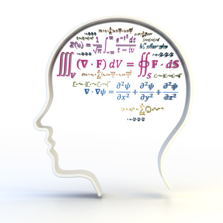 equations: Outline of human head with advanced mathematical equations, 3d render, white background